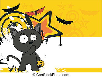 halloween black cat cartoon backg5