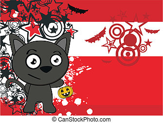 halloween black cat cartoon backg8