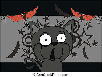 halloween black cat cartoon backg9