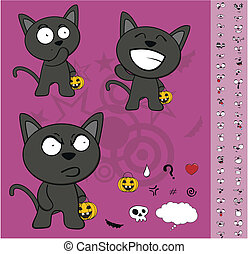 halloween black cat cartoon set1