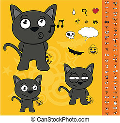 halloween black cat cartoon set2