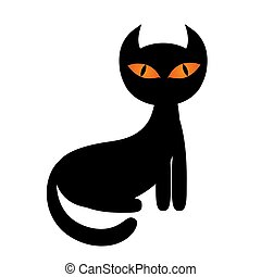 Halloween black cat cartoon style vector illustration