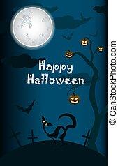 halloween, black cat on moon background