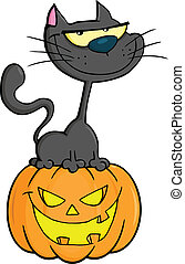 Halloween Black Cat On Pumpkin