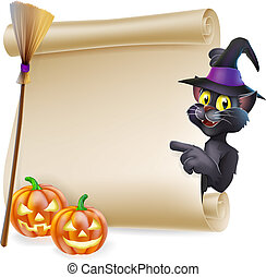 A Halloween black cat in witch's pointed hat pointing at the sign. Also with witch broom and carved pumpkins.
