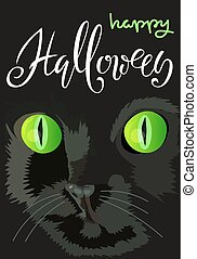 Halloween black cat with green eyes. Halloween handwritten lettering. Vector illustration. EPS10