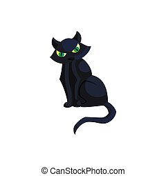 Halloween black cat with green eyes icon