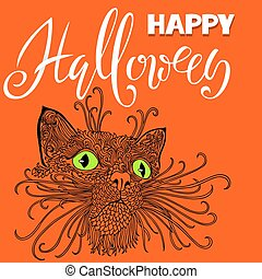 Halloween black cat with green eyes. Mandala pattern style. Happy Halloween handwritten lettering card. Vector illustration.