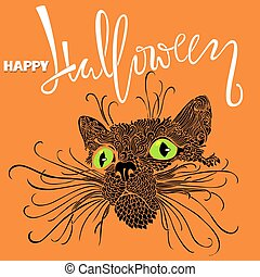 Halloween black cat with green eyes. Mandala pattern style. Happy Halloween handwritten lettering card. Vector illustration.