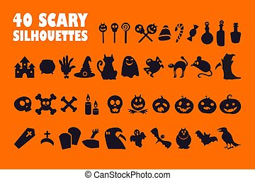 Halloween black glyph icons set on white space