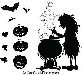 Halloween black one-colour cartoon set with silhouette of...