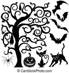 Halloween black silhouettes set