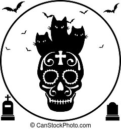 Halloween. Black three cats sit on skull, round frame, on a white background,