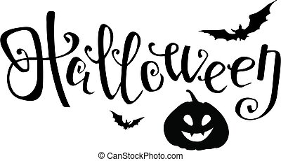 Halloween black vector lettering with pumpkin and bats. Element for your design.