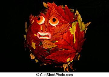 hallowe'en, blad, abstract, eco, -, aardebol, pompoen