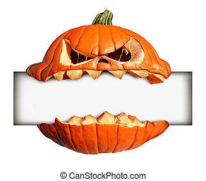 Halloween Blank Sign - Halloween blank sign as a pumpkin...