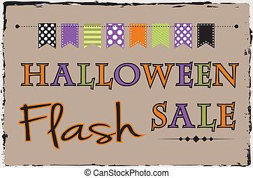 halloween, blitz, verkauf, schablone, mit, ammer, oder, banner