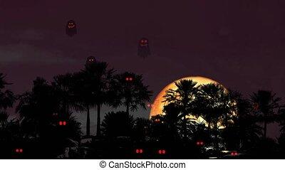 Halloween blood moon on night sky back silhouette palm tree ...
