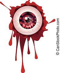 Halloween Bloody Eyeball - Spooky halloween eyeball with...