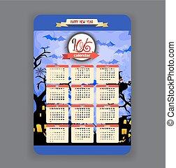 halloween blue background Calendar