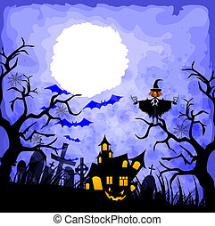 halloween blue background
