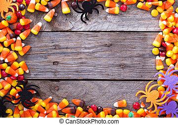 halloween, bonbon, cadre, autour de, rustique, planche