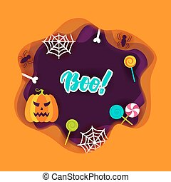 Halloween Boo Papercut Concept. Vector Illustration. Trick...