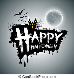 halloween, boodschap, ontwerp, vrolijke
