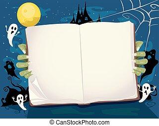 Halloween Book Story Background Illustration
