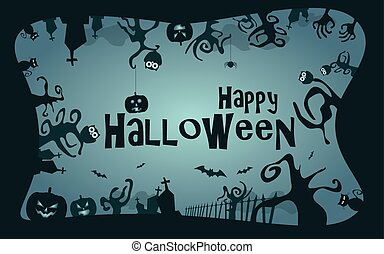 Halloween border background vector illustration