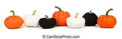 Halloween border of orange, black and white pumpkins isolated on white