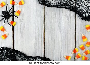 Halloween border on white wood