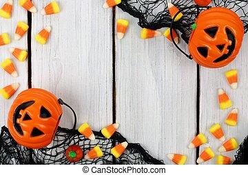 Halloween border on white wood