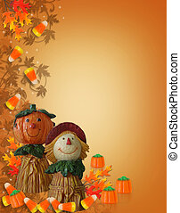 Halloween Border Pumpkin Scarecrow - Image and illustration...