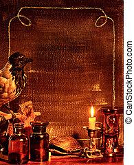 Halloween border with raven. - Halloween decor border with...