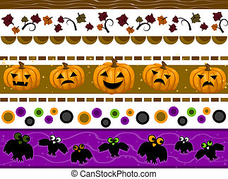Halloween Borders - Halloween Border Set with Clipping Path