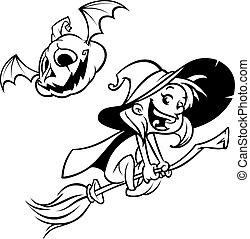 halloween boszorkány, repülés