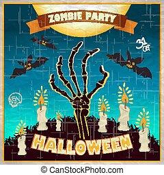 halloween, -, braccia, morto, zombie, vettore, illustrazione, invito, festa, man's, suolo