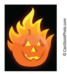 Halloween burning pumpkin
