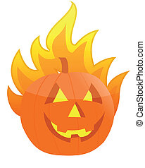 Halloween burning pumpkin