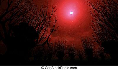 halloween., céu, vermelho, noturna