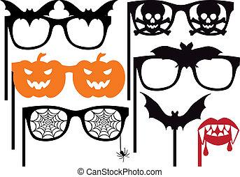 halloween, cabina, accesorios, vector