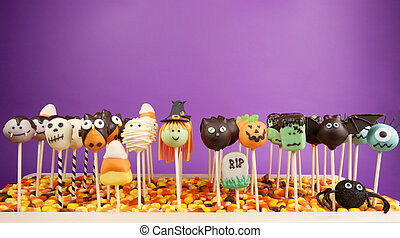 Halloween cake pops - Variety of mini cakes on sticks...
