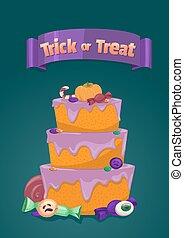 Halloween cake. Trick or treat.