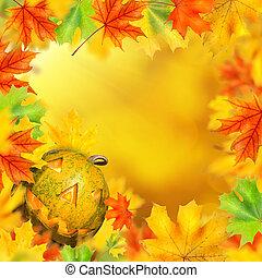 halloween, calabaza, en, marco, de, otoño sale
