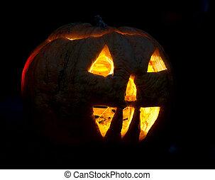 halloween, calabaza, en, tarde