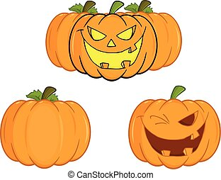 halloween, calabazas, colección, conjunto