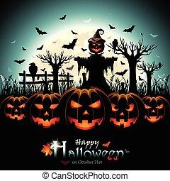 halloween, calabazas, con, espantapájaros, delante de, luna llena