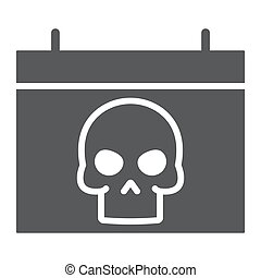Halloween calendar glyph icon, autumn and holiday, date sign, vector graphics, a solid pattern on a white background, eps 10.
