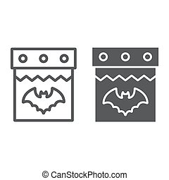 Halloween calendar line and glyph icon, date and holiday, 31st october sign, vector graphics, a linear pattern on a white background.